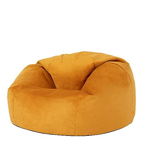 """Icon Klassischer Sitzsack """"Milano"""", Ockergelb, 85cm x 50cm, Sitzsäcke für das Wohnzimmer, Groß, Plüschsamt"""