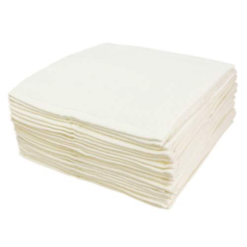 【ウイルス対策の手洗いに】洗い替え便利な 綿100% ふわふわ 無撚糸 タオル ハンカチ アイボリー 20枚組(20×20㎝)