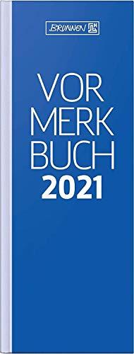 Brunnen 1078402301 Tischkalender/Vormerkbuch Modell 784, 1 Seite = 2 Tage, 11,0 x 29,7 cm, Deckenband blau, Kalendarium 2021