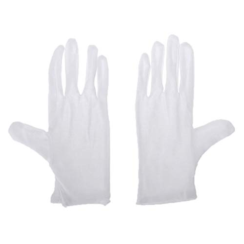 New Cher9 White Soft Cotton Lint Free Gloves, Musical Instrument Performance Marching Bands