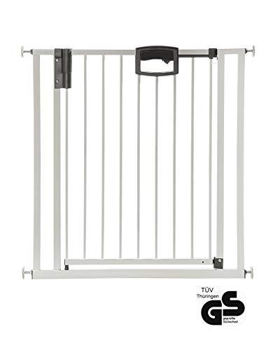 Geuther - Tür- und Treppenschutzgitter ohne Bohren Easylock 4791+, für Kinder und Hunde, zum klemmen, Metall, 68 - 76 cm, weiß/silber