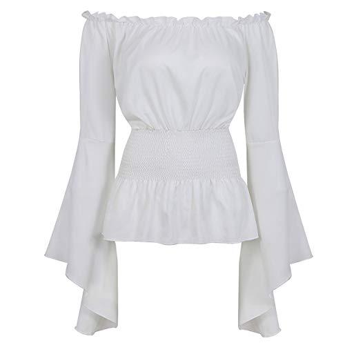 Women Renaissance Medieval Blouse Off Shoulder Smocked Waist Pirate Shirt Tops White Medium