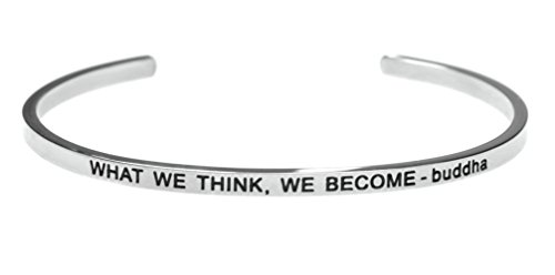 'What We Think, We Become - buddha' Inspirational Message Simple Stainless Steel Bracelet