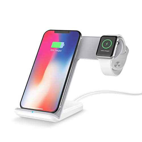 NBWS Qi draadloze oplader 2-in-1 stand-up snellading voor iPhone X/8/8plus Apple iWatch Series Samsung s9 s8 s7 en alle andere Qi-compatibele apparaten, wit