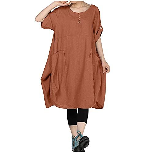Vestido de lino para mujer, camiseta elegante, de algodón y lino, cuello redondo, manga corta, holgado, holgado, de verano, de manga corta, monocolor, con bolsillos