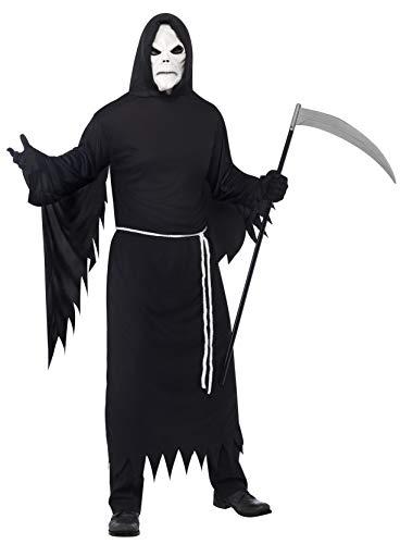 Halloween! Smiffys Kostüm Sensenmann, mit Kapuzengewand, Maske und Gürtel