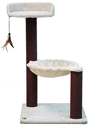 Catry Cat Tree Hammock Bed with Natural Sisal Scratching Posts and Teasing Feather for Kitten Version 2