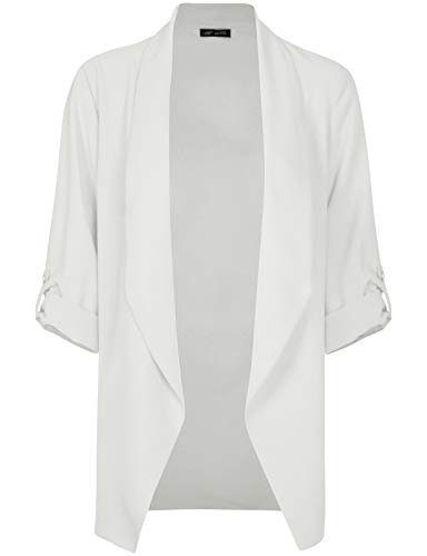Michel Womens Open Front Blazer Casual 3/4 Roll UP Sleeve Cardigan Blazer Offwhite Large