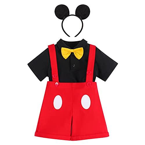 Disfraz Mickey Mouse Niño Ropa Bebe Primer Cumpleaños Pajarita Mameluco+Pantalones Cortos Con Tirantes+Diadema Carnaval Halloween Navidad Fiestas Ceremonia Boda Traje 1-2 Años 2#Negro 18-24 Meses