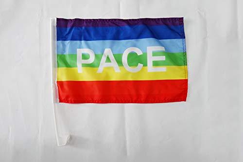 AZ FLAG AUTOFAHNE Regenbogen Frieden PACE 45x30cm - Peace AUTOFLAGGE 30 x 45 cm Auto flaggen