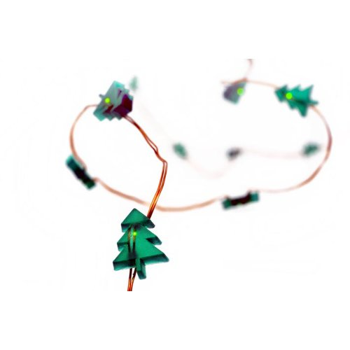 HAB & GUT - LED003 - Guirlande Lumineuse de 20 SAPINS Verts, 130 cm, avec 3 Piles, Sapin de Noël