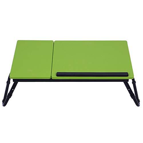LIYANG Escritorio Plegable para Computadora Portátil Ordenador portátil Tabla de la Cama de pie de Escritorio for la Cama y sofá for el hogar u Oficina (Color : Green, Size : 60x34cm)