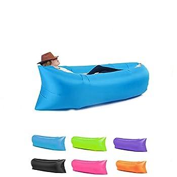 Chaise longue gonflable HAIKERS - Portable - Étanche - Anti-fuite d'air - Idéal pour l'extérieur, les voyages, les fêtes à la plage, les pique-niques, le jardin - Bleu