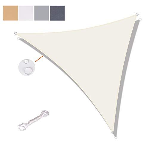 SUNNY GUARD Toldo Vela de Sombra Triangular 3x3x4.25m Impermeable a Prueba de Viento protección UV para Patio, Exteriores, Jardín, Color Crema