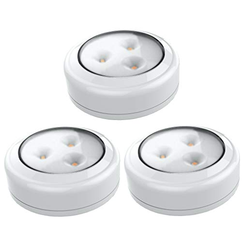 Brilliant Evolution BRRC133 Wireless LED Puck Light 3 Pack | LED Under Cabinet Lighting | Closet Light | Battery Powered Lights | Under Counter Lighting | Stick On Lights