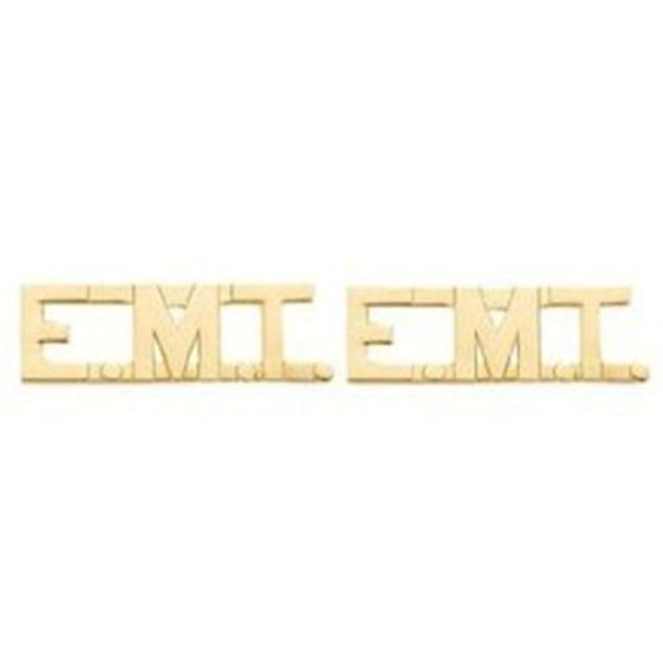 EMT E.MT. EMERGENCY MEDICAL TECHNICIAN Gold Uniform Shirt Collar Pins Brass
