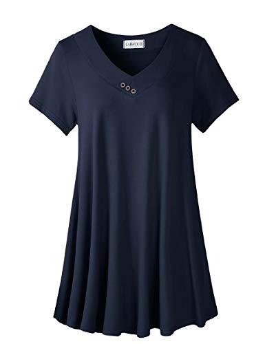 LARACE Women's Plus Size Tunic Tops Short Sleeve V Neck Floral Blouses Basic Flowy Leopard Print T Shirts for Leggings, Navy Blue 3X