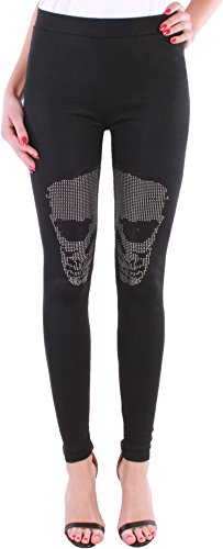 Black Denim Damen Leggings Totenkopf Nieten Stretch Strass schwarz CutOut Leggins Eule A1008 (L/XL, 03)
