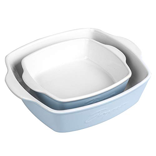 Joyroom Ceramic Baking Dish Set of 2, Ceramic Bakeware, Square Pan, Brownie Pans, 8 x 8 inch & 6 x 6 inch Baking Dish, Square Baking Pan, Letter Collection (Baby Blue)