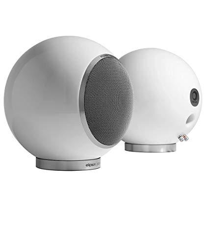 Elipson Planet L 2.0 kugelförmiger Design-Lautsprecher mit Koaxialchassis, Weiss Hochglanz (Paar)