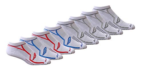 Saucony Men's Performance Comfort Fit Heel Tab Athletic Socks, White/Blue/Red (8 Pairs), Shoe Size: 8-12