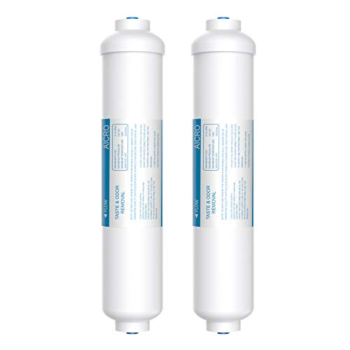 Vegebe Inline Water Filter for Ice Maker, Refrigerator, Under-Sink Reverse Osmosis Water System, Post Activated Carbon Water Filter Replacement Cartridge with 1/4-Inch Quick-Connect (Pack of 2)