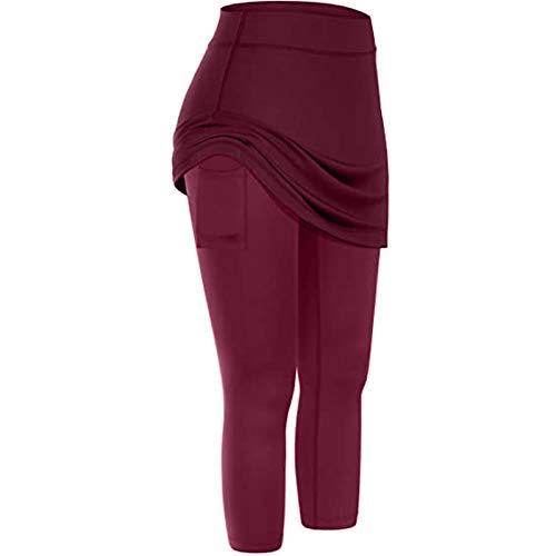 SHOBDW Pantalones Cortos de Tenis Deportivos de Ocio para Mujer Pantalones de Yoga de Caderas de Color Puro Pantalones Deportivos para Correr Falda de Golf para Mujer(Vino,XL)