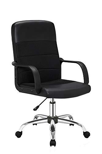 Homemania Elisabeth Bureaustoel, zwart en chroom, verstelbare zithoogte met wieltjes en armleuningen, PU, PP, Unica