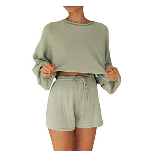 Conjunto de salón casual para mujer, manga larga, con pantalones cortos, 2 piezas, pijamas