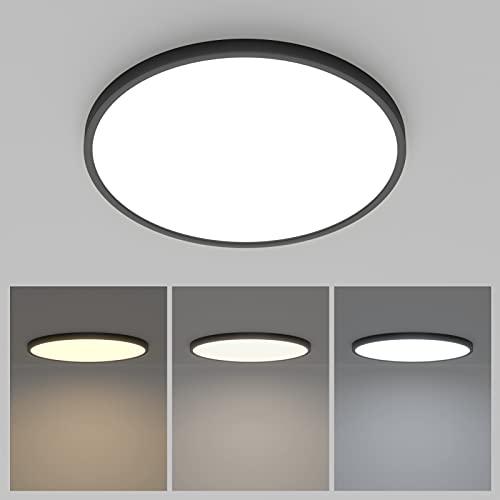 K-Bright Plafoniera LED Soffitto 38W, Lampada a Soffitto 3420LM dimmerabile 3000K / 4000K / 6000K, Super Leggero, Plafoniera Moderna per Bagno Camera da Letto Corridoio 40*40*2cm (Nero)