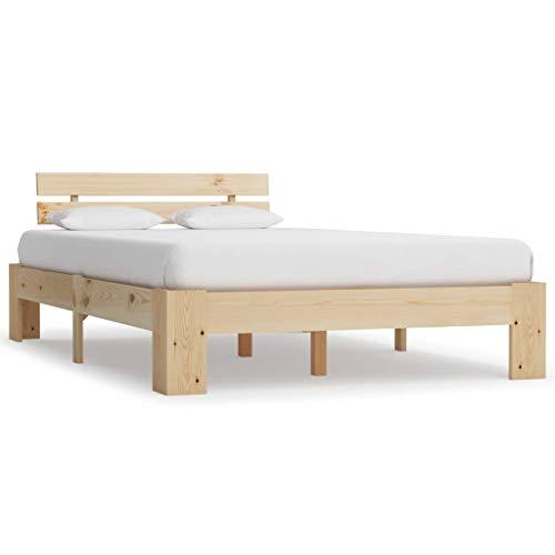 Festnight Estructura de Cama de Madera Maciza de Pino Natural 140 x 200 cm, 213 x 145 x 66 cm para Dormitorio/Matrimonio