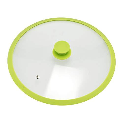 bremermann - Coperchio in Vetro con Bordo in Silicone per pentole e padelle da 32 cm (Verde)