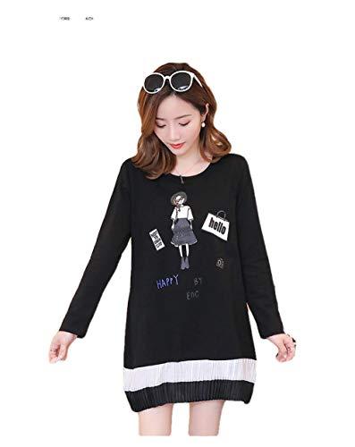 SATIWHYU Robes Maternité Printemps Et Automne Cartoon Maternity Wear T-Shirt De Grossesse en Vrac-Black_M