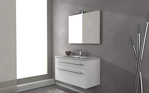 Mueble de baño suspendido Armonia blanco brillante, 100 cm, base y lavabo de cerámica