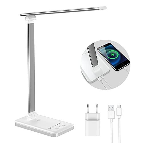 ERAY Lámpara Escritorio LED, Lámpara de Mesa Regulable, 5 Colores de Temperatura, 10 Niveles de Intensidad, Modo de Lectura, Temporizador de 45min, Puerto USB, Protección para Ojos, Color Blanco