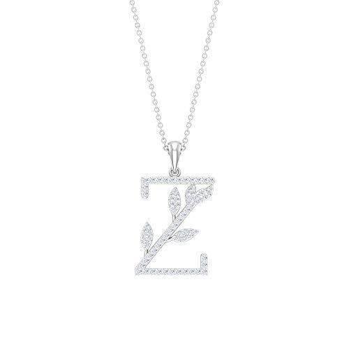 Antique Floral Letter Pendant, Z Initial Alphabet Pendant, Personalize Name Pendant, HI-SI 1/2 CT Round Diamond Pendant, Bridesmaid Charm Necklace,18K White Gold With Chain