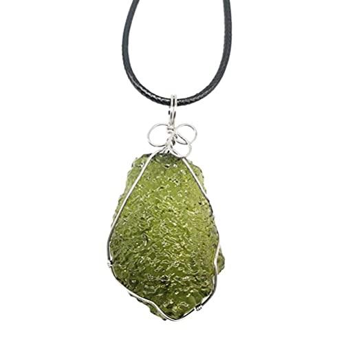 Roexboz Collar de cristal de moldavita, colgante de piedra natural de energía con colgante de gema verde, colgante de meteorito, joya para hombres y mujeres
