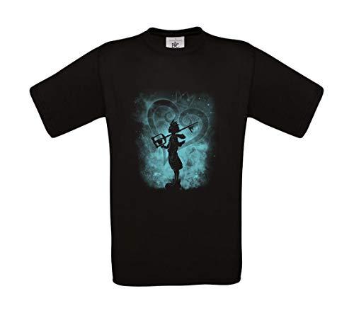 b&c Kingdom Hearts - Camiseta 100% algodón Negro XS