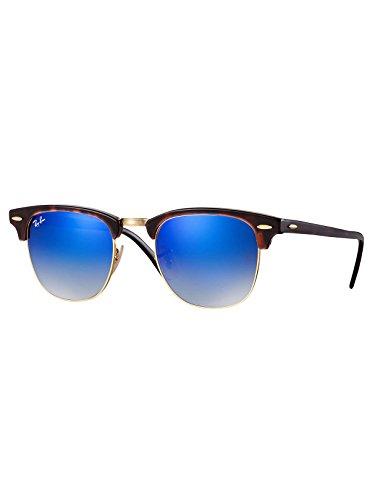 Ray-Ban Gafas de sol CLUBMASTER en la Habana rojo brillante azul destello degradado RB3016 990/7Q 51 51 Blue Gradient Flash Mirror