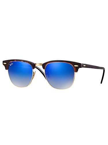 Ray-Ban Gafas de sol CLUBMASTER en la Habana rojo brillante azul destello degradado RB3016 990/7Q 51 51 Blue Gradient Flash Mirror