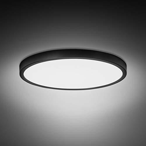 Combuh Plafonnier LED 28W 2520LM Blanc Froid 6500K Ultra Mince Noir Lampes de Plafon pour Salle de bains Chambre Salon Cuisine Bureau Ø30cm