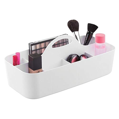 mDesign organiseur de maquillage en blanc – boîte de rangement 11 compartiments – rangement pour produits cosmétiques en plastique solide – poignée intégrée – 36,83 x 17,78 x 14,6 cm