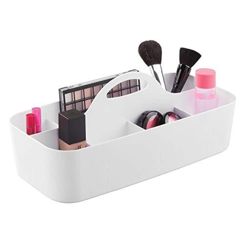 mDesign cesta organizadora con 11 compartimentos para sus cosméticos - Cesta plastico provista de asa para un cómodo transporte - Organizador maquillaje en color blanco