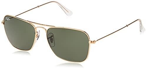 Ray-Ban RB3136 Caravan Square Sunglasses, Arista Gold/Green, 55 mm