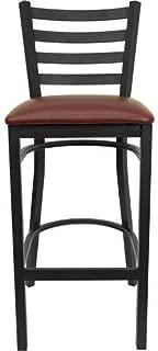 Flash Furniture HERCULES Series Black Ladder Back Metal Restaurant Barstool - Burgundy Vinyl Seat