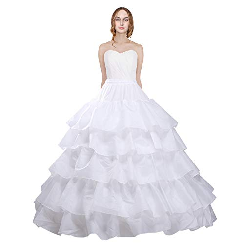 Petticoat Unterrock Brautunterrock Petticoat Ballkleid Petticoat Tüll Unterrock Crinoline Petticoat 6 Reifen, Weiá (Weißes Lotusblatt), Einheitsgröße