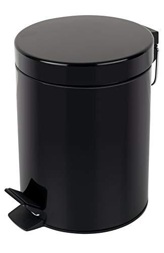 Spirella Kosmetikeimer Sydney Schwarz Mülleimer Treteimer Abfalleimer - 3 Liter – mit herausnehmbaren Inneneimer