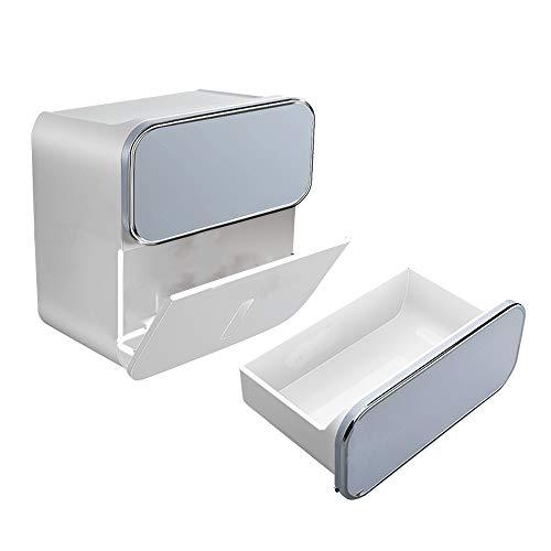 CHAOZHAOHENG Toilettenpapierhalter für den gewerblichen Gebrauch, Aufbewahrungsbox für Badezimmertücher - zweilagiges Design - ABS-Material, stanzfrei, für Haushalt und Küche geeignet