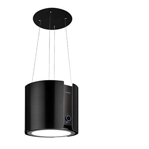 Klarstein Skyfall Smart – Extractor de humo tipo isla, campana aislada, control por aplicación móvil, 45 x 42 cm (ØxB), ventilación y extracción, 3 niveles, 402 m³/h iluminación LED, clase C, negro