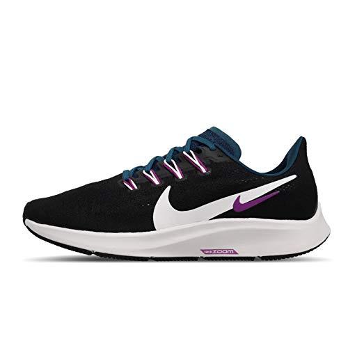 Nike Air Zoom Pegasus 36, Zapatillas para Correr Mujer, Negro (Black Valerian Blue Vivid Purple Summit White), 39 EU